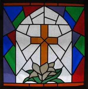 Stained glass window in First Christian Church Fellowship Hall